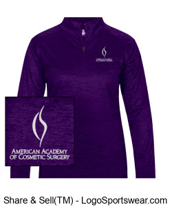 Embroidered Women's Purple Tonal 3/4 Zip Design Zoom